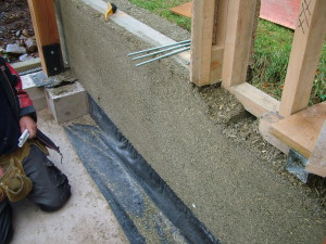 Hemp Lime wall immediately after shuttering has been removed