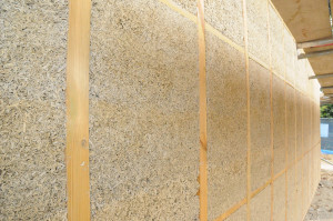 Hempcrete wall following removal of shuttering showing timber frame