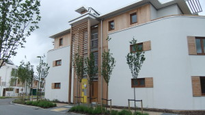 Completed apartment building in Letchworth, England built with hempcrete