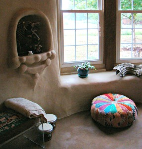 Adobe floor in a strawbale cottage in West Virginia